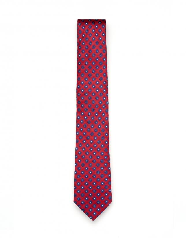Cravate en jacquard géométrique bleu marine