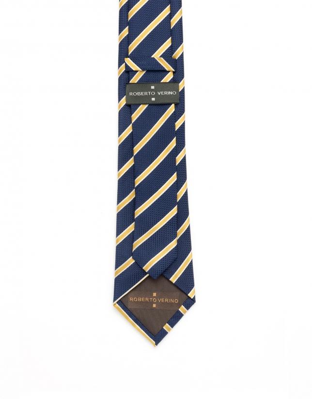 Cravate à rayures jaunes