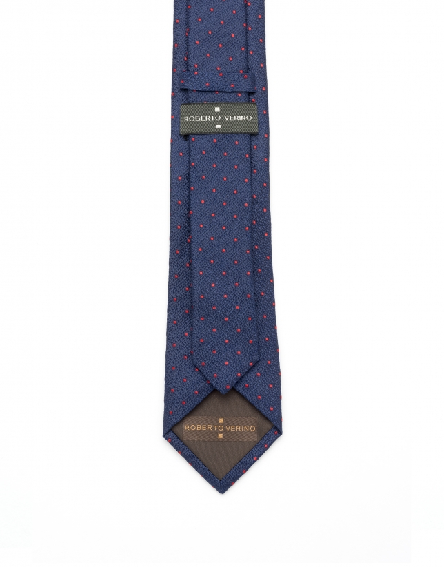 Navy blue and red polka dot tie