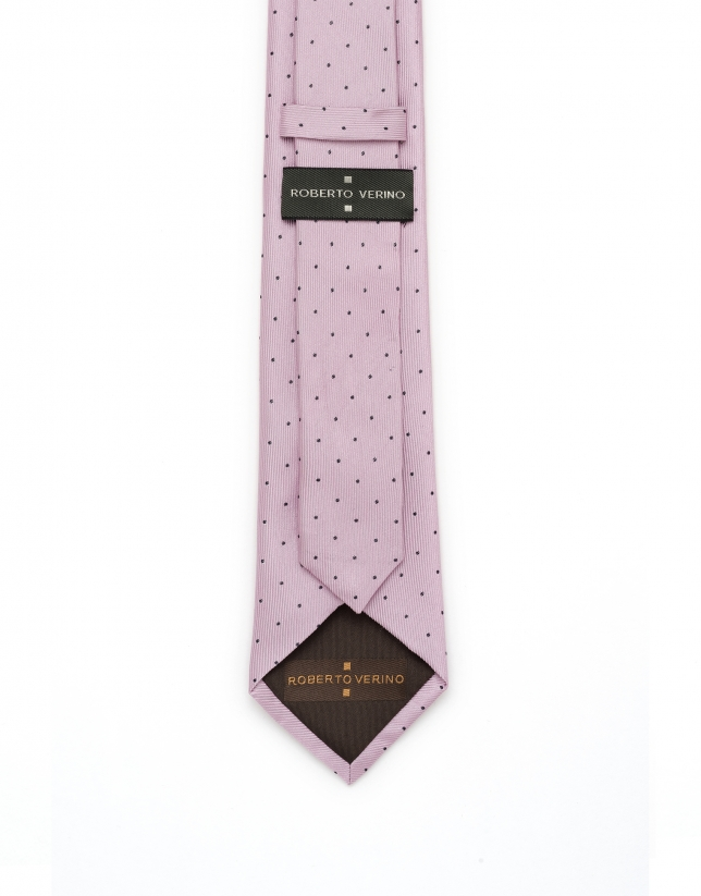 Blue and pink polka dot tie