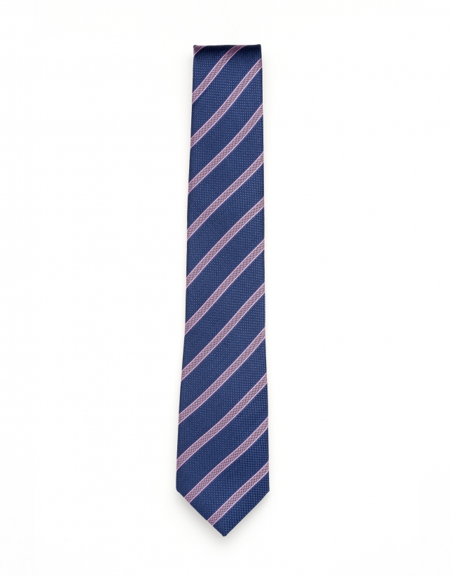 Blue and pink striped tie