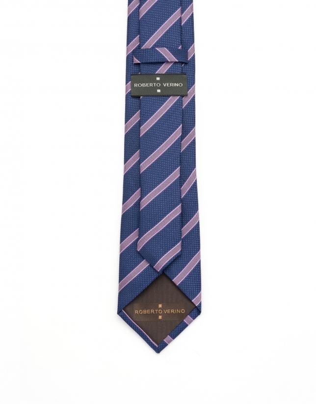 Corbata rayas azul/rosa