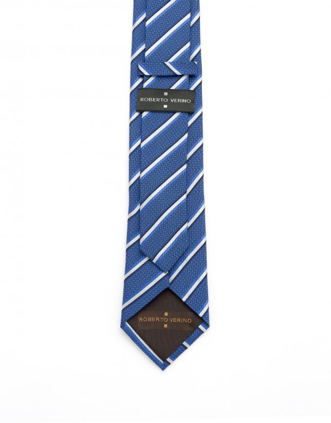 Corbata rayas y microdibujo azul medio
