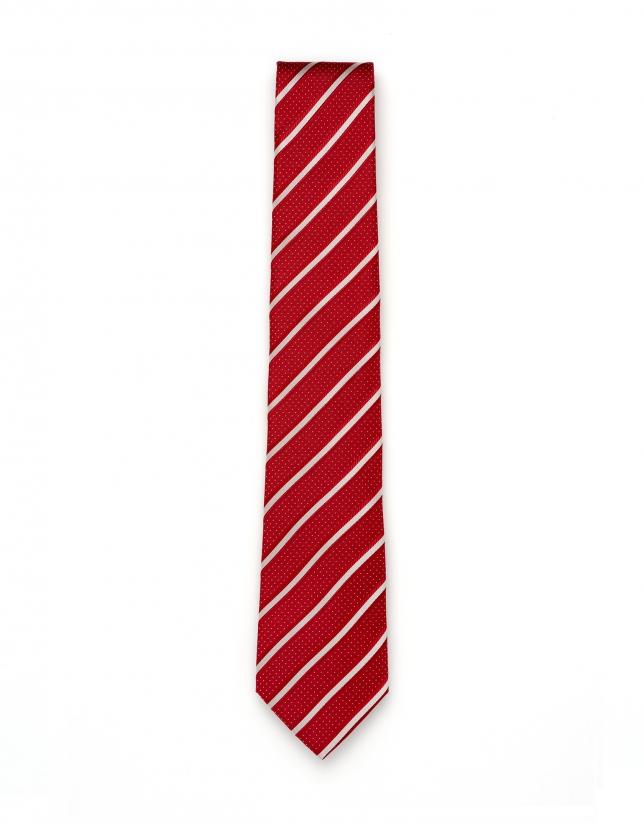 Corbata rayas y microdibujo rojo