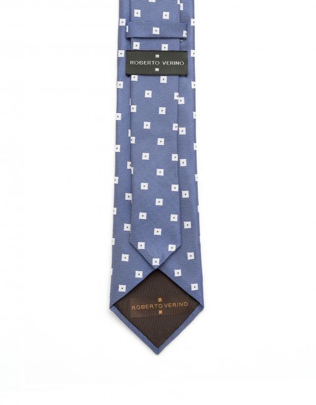 Corbata geométrica azul/blanco