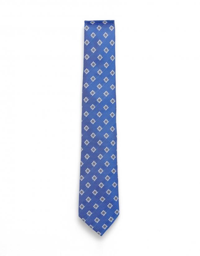 Cravate en jacquard bleu moyen
