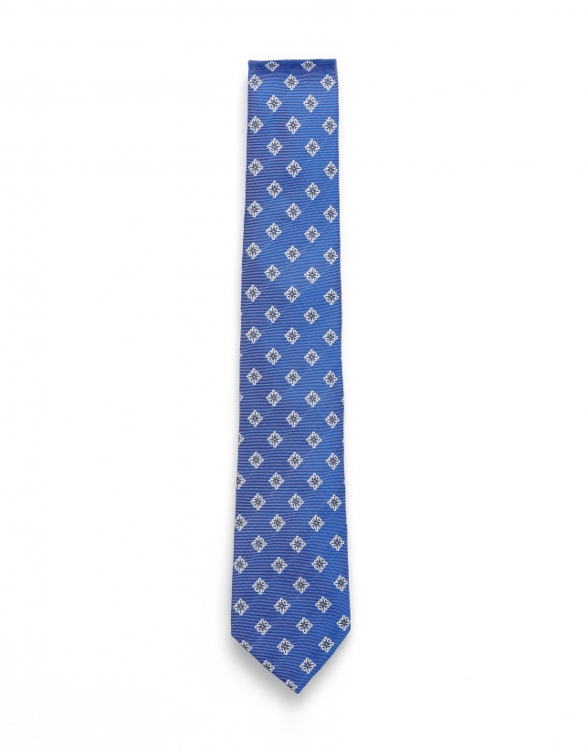 Medium blue jacquard tie