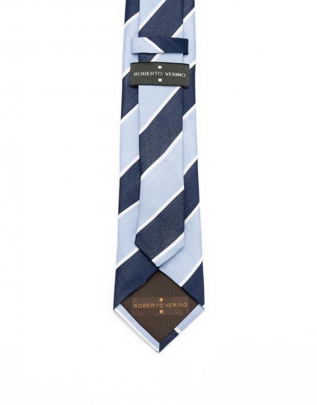 Cravate à rayures en bleu marine/blanc