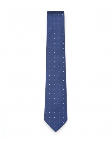 Blue and white polka dot tie