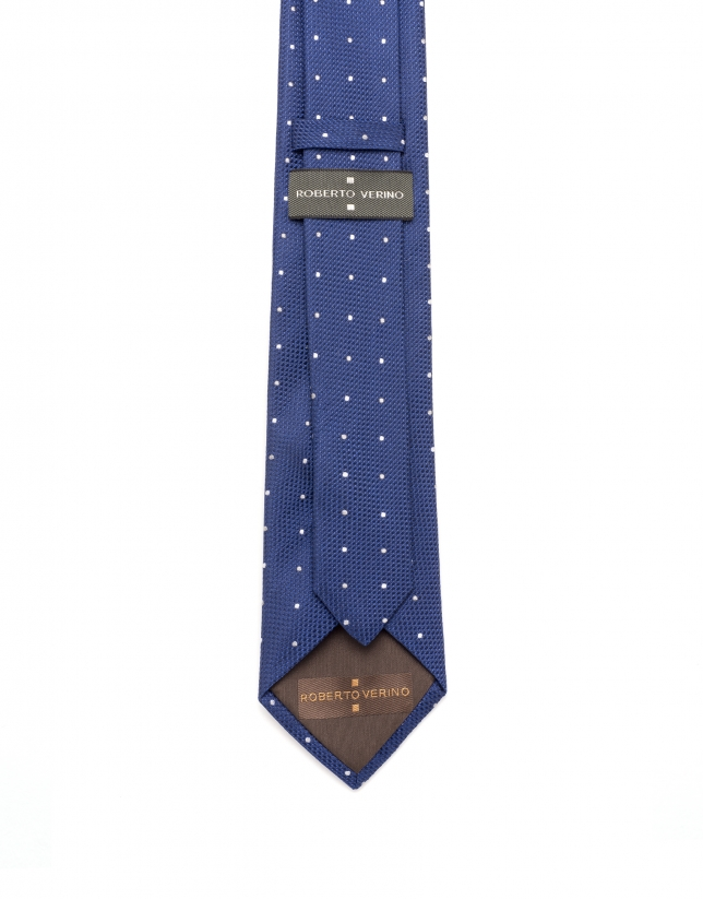 Cravate à pois en bleu/blanc