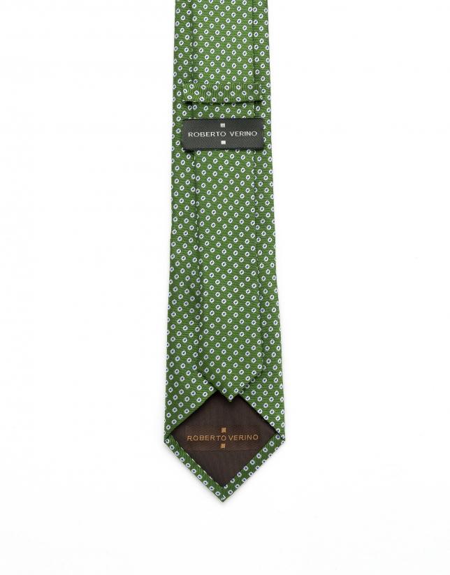 Corbata jacquard lunares verde