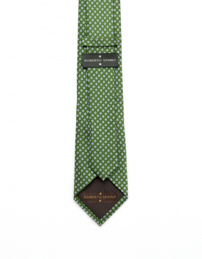 Green polka dot jacquard tie