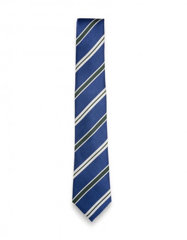 Cravate à rayures en bleu/vert