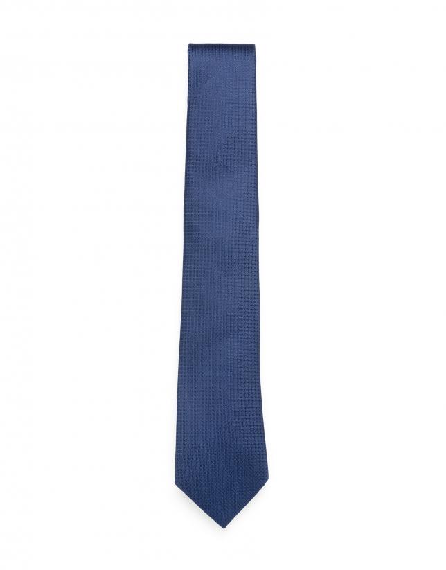 Cravate faux uni bleu marine