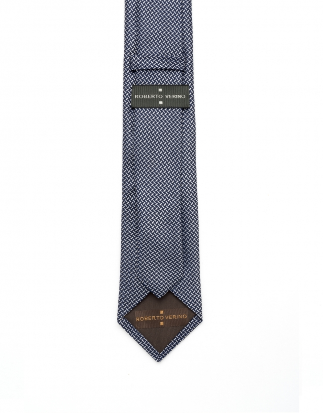 Navy blue and white jacquard tie