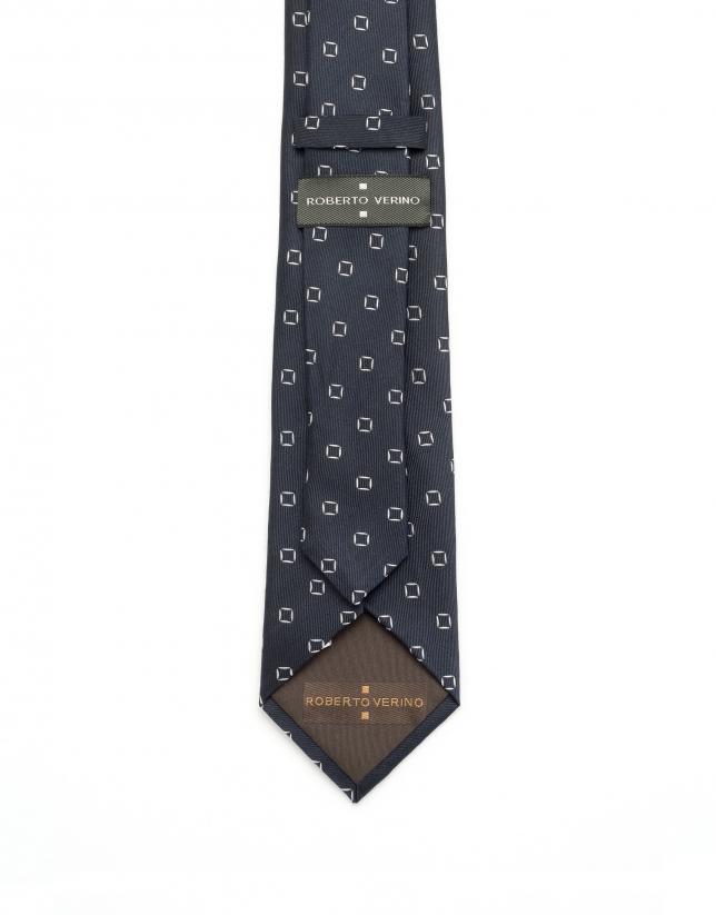 Corbata geométrica azul cuadros blancos