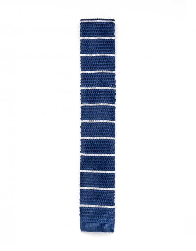 Blue and white striped knit tie