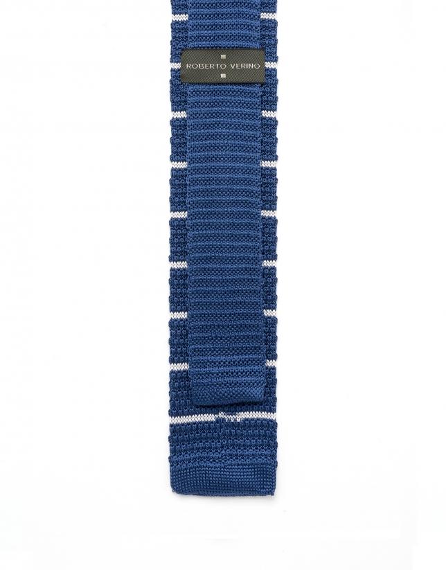 Corbata de punto rayas azul/blanco