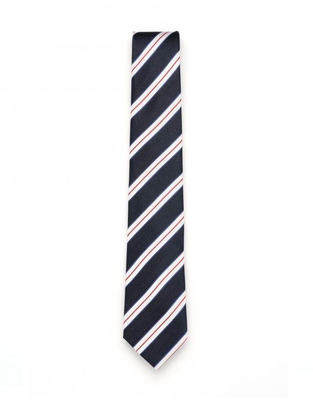 Cravate à rayures en bleu/blanc/rouge