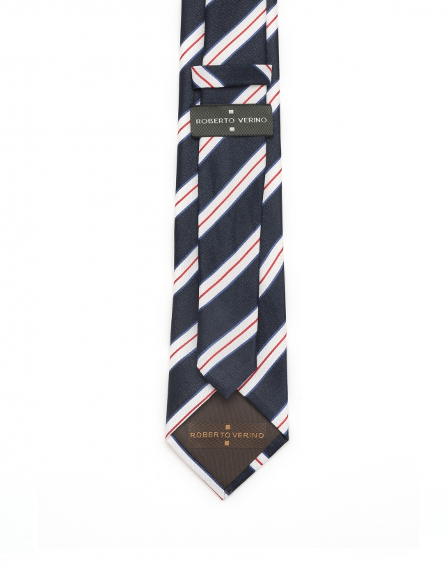 Blue, white and red striped tie