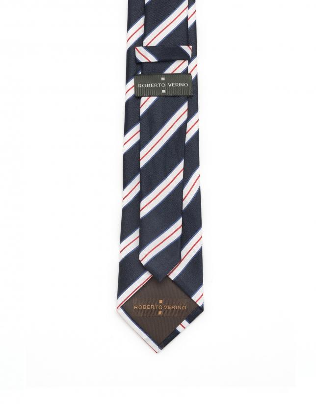 Corbata de rayas azul/blanco/rojo