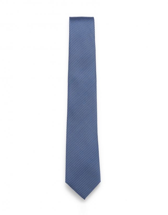 Blue and white jacquard tie