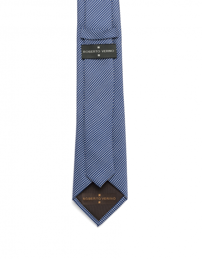 Corbata jacquard azul y blanco