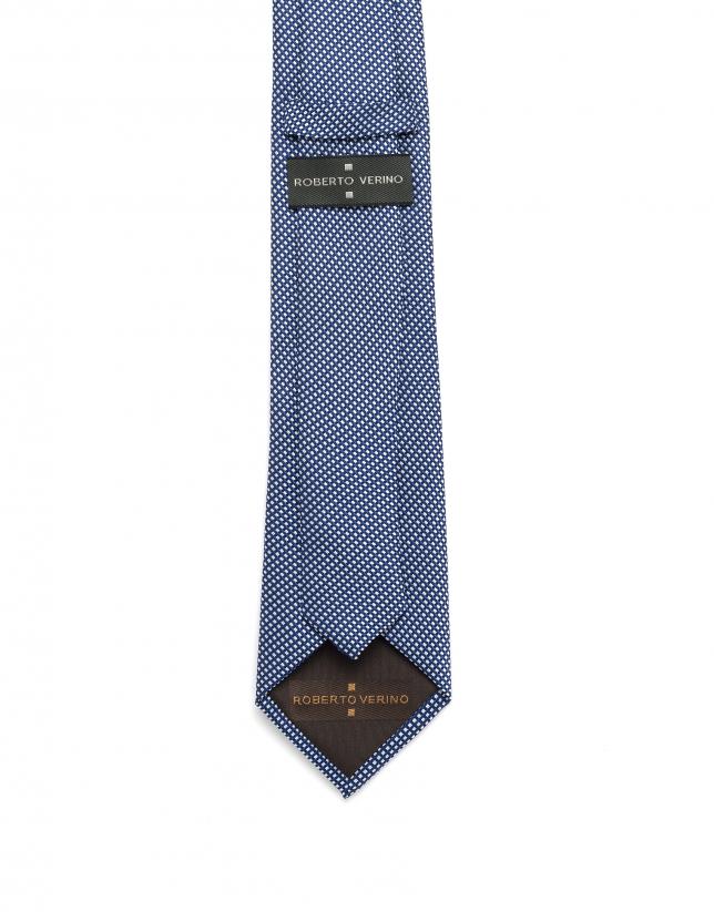 Cravate en jacquard bleu et blanc