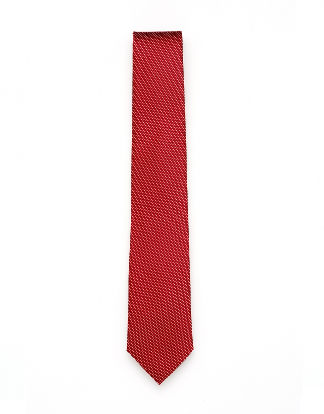 Red and white jacquard tie