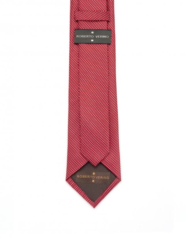 Corbata jacquard rojo y blanco