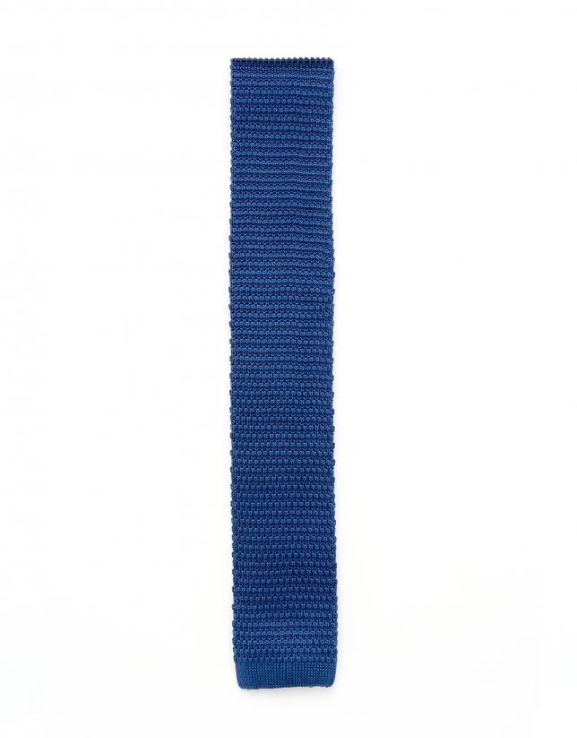 Corbata de punto color azul