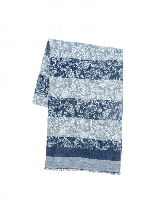 Indigo blue print scarf