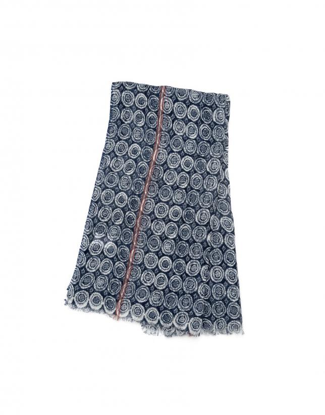 Blue and white geometric print scarf