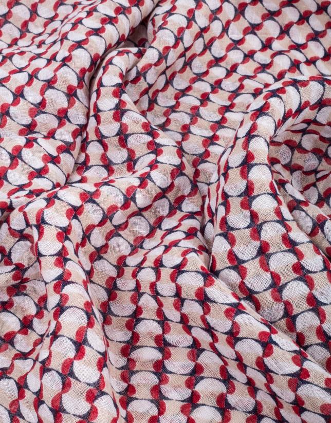 Foulard imprimé géométrique en bleu/rouge