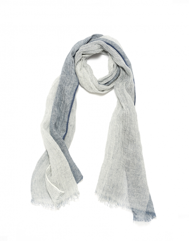 Two toned blue print scarf