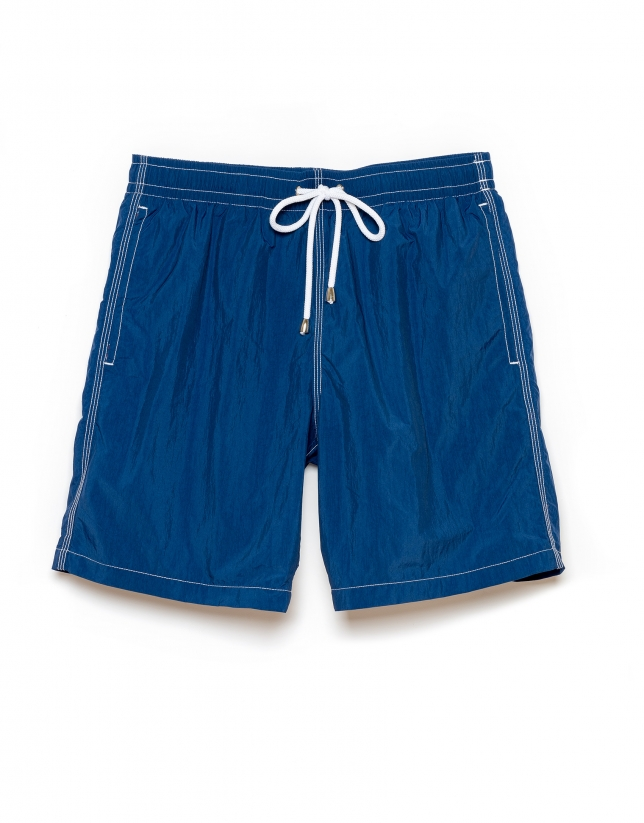 Plain blue swim trunks