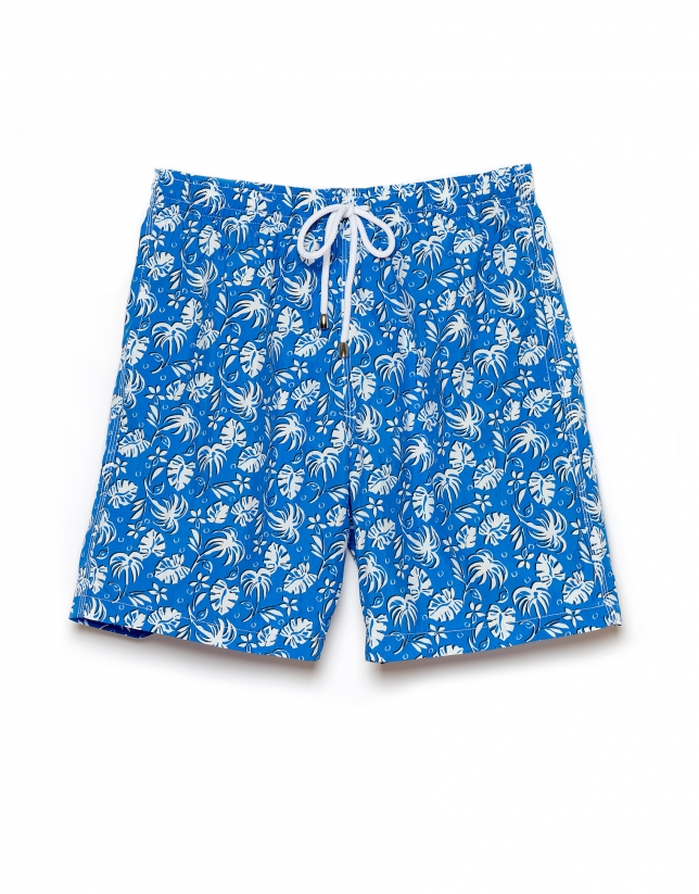 Blue and white floral print swim trunks