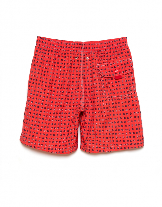 Red paisley print swim trunks