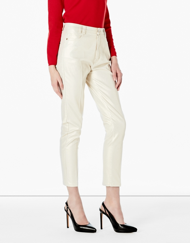 Gold pants with 5 pockets