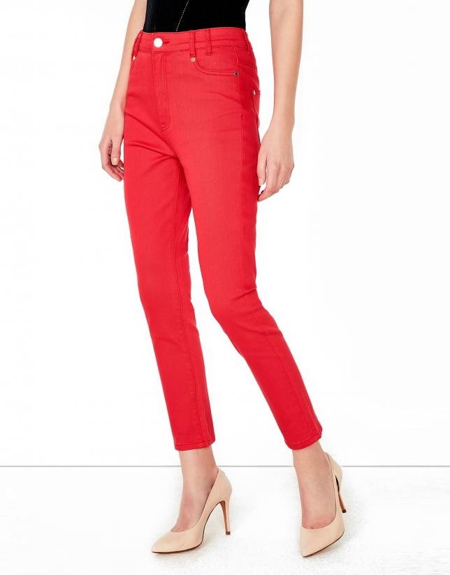 Pantalon 5 poches couleur corail