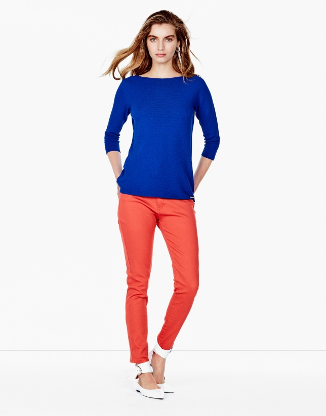 Orange pants with 5 pockets