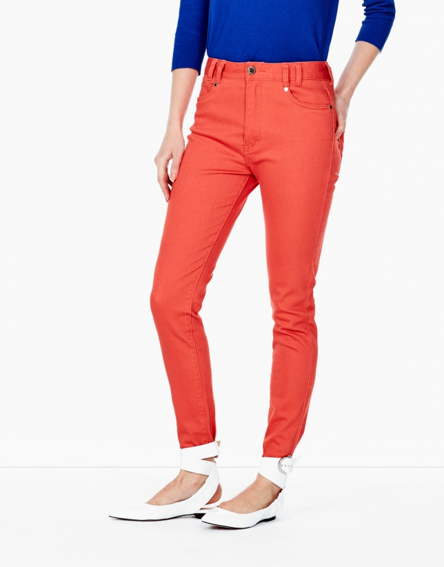 Pantalon 5 poches couleur orange