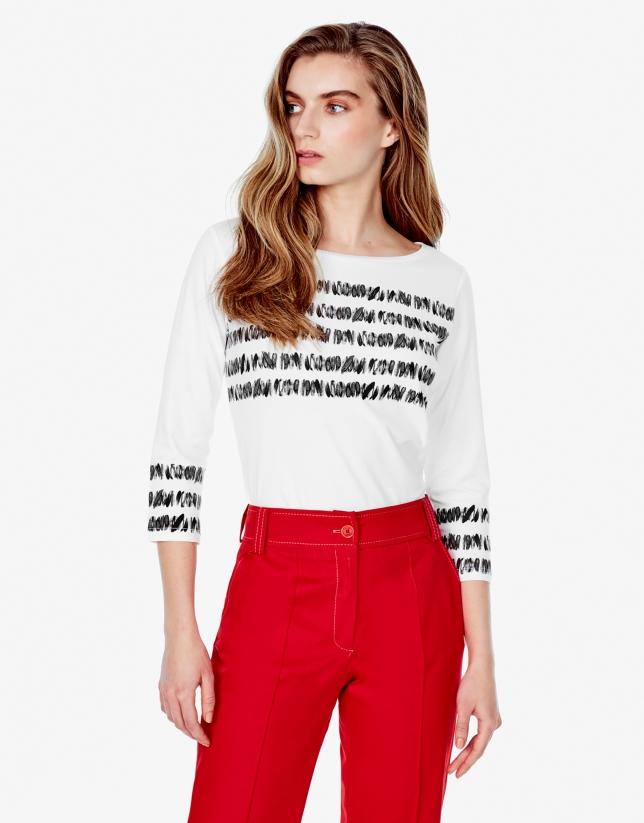 Pantalon droit couleur corail
