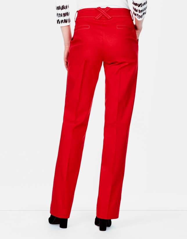 Coral straight pants