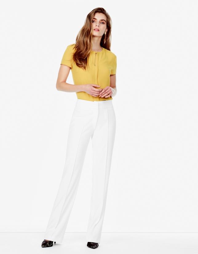 Pantalon en crêpe blanc cassé