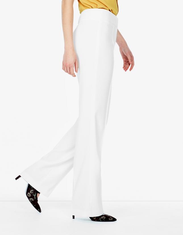 Pantalón crepe blanco roto