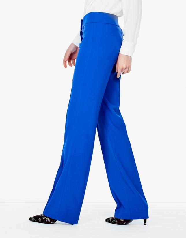 Pantalón crepe azul