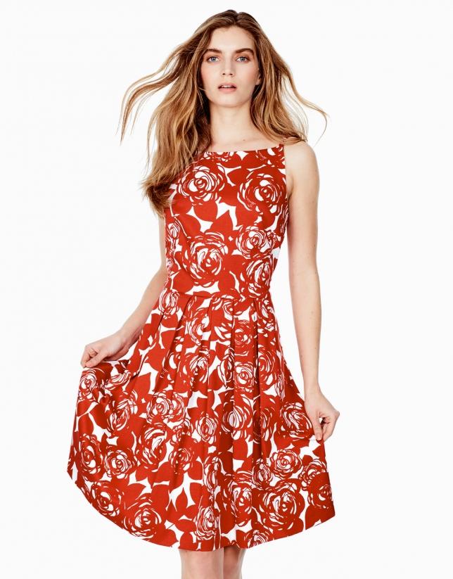 Orange pleated dress