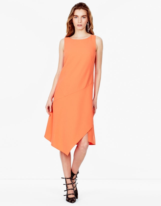 Robe asymétrique orange