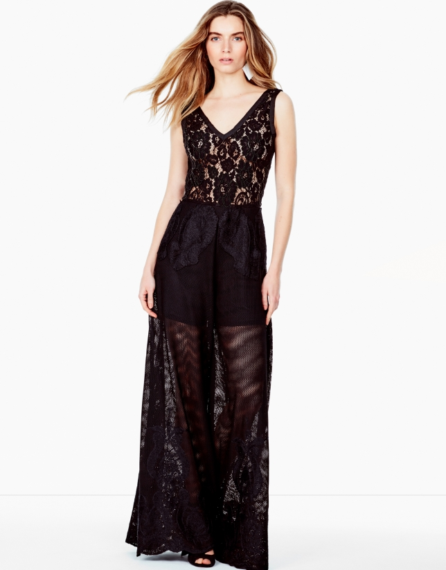 Long black embroidered jumpsuit